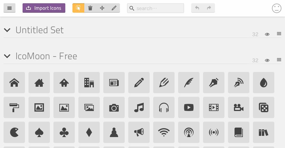 自作の SVGデータからアイコンを生成したいので、Import Iconsのボタンをクリックして SVGファイルを選択の説明図