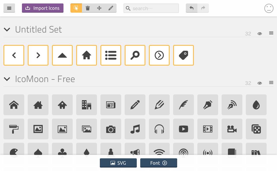 Untitled Setという項目と、その下にアップロードした SVGファイルがアイコン化され表示されるので選択して fontボタンをクリックの説明図