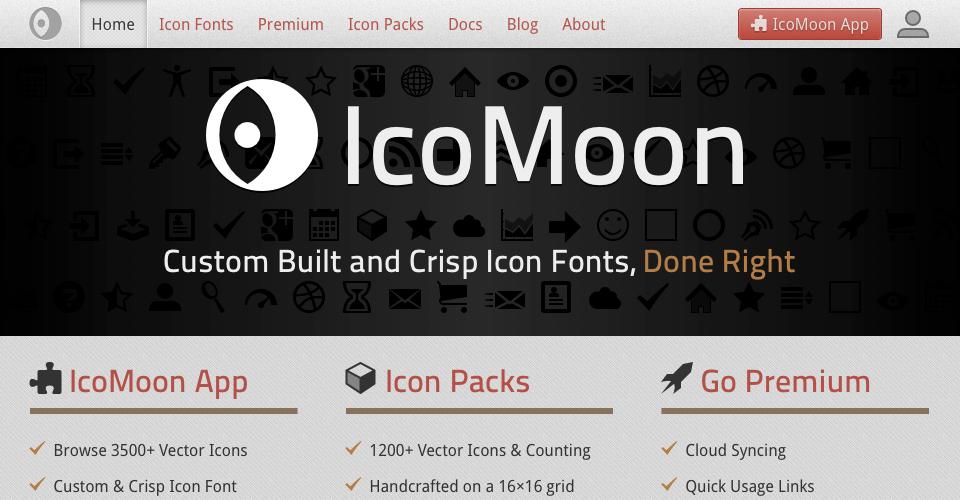 IcoMoonのヘッダー右にある IcoMoon Appボタンをクリックしてアイコン生成アプリのページへ移動の説明図